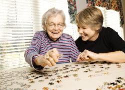a caregiver and an elderly