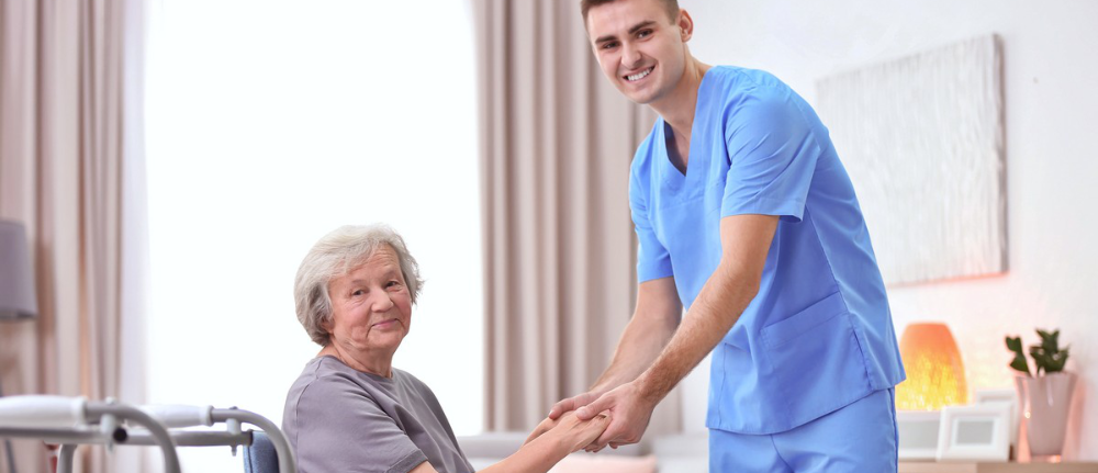 Senior couples with their medical workers in a hospital
